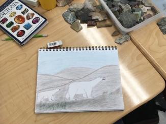 johnny drawing mother polar bear 2